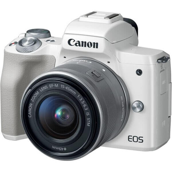 Canon EOS M50 Mirrorless Digital Camera with 15 45mm Lens White 1
