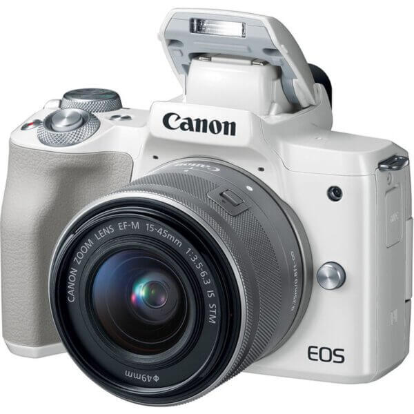 Canon EOS M50 Mirrorless Digital Camera with 15 45mm Lens White 3