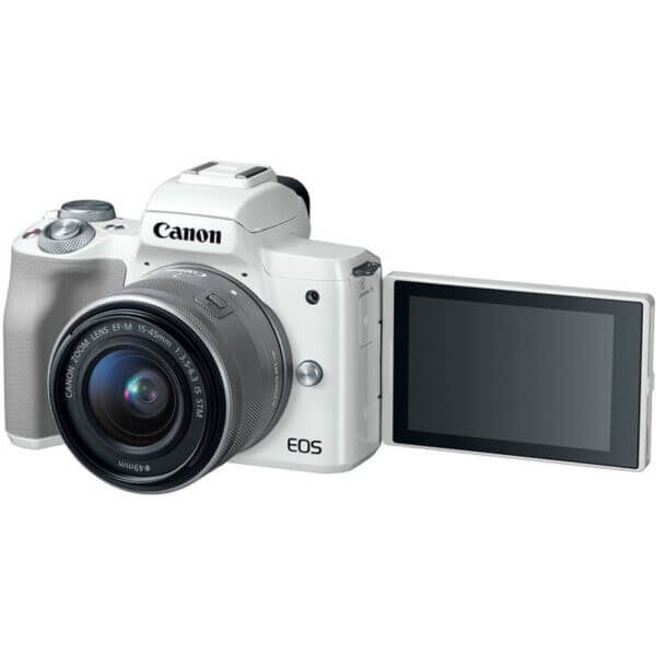 Canon EOS M50 Mirrorless Digital Camera with 15 45mm Lens White 5