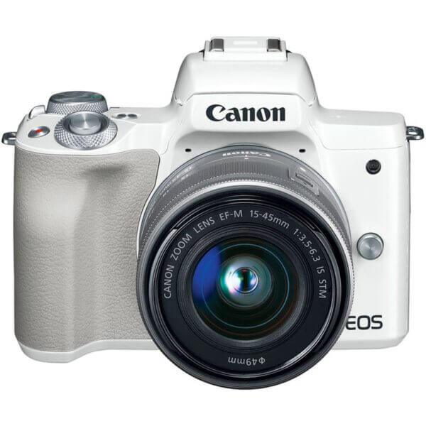 Canon EOS M50 Mirrorless Digital Camera with 15 45mm Lens White 7