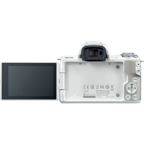 Canon EOS M50 Mirrorless Digital Camera with 15 45mm Lens White 8