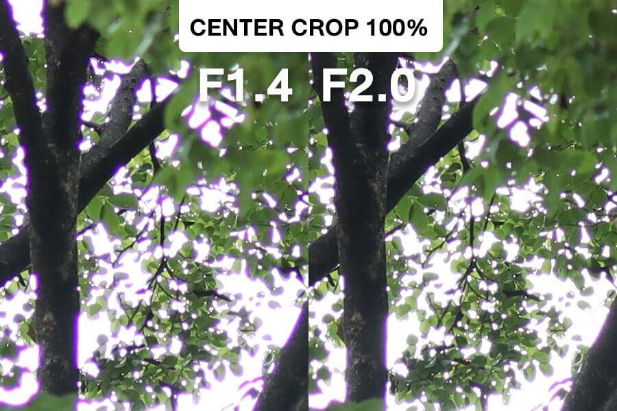Canon 32mm F1 4 CA Test Center Crop F1 4 vs F2 0
