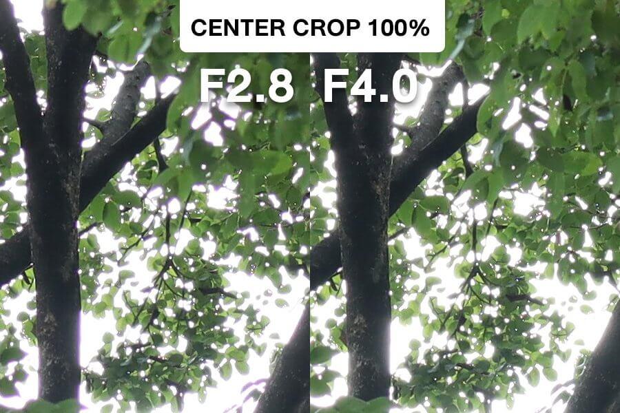 Canon 32mm F1 4 CA Test Center Crop F2 8 vs F4 0