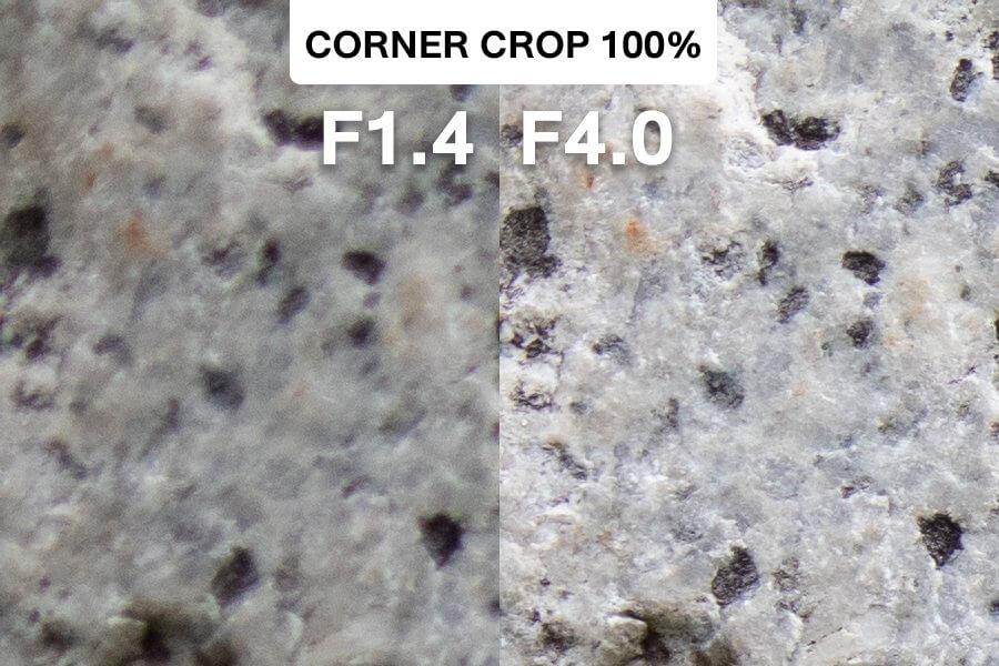Review Canon 32mm F1 4 Test Corner F1 4 vs F4 0 1