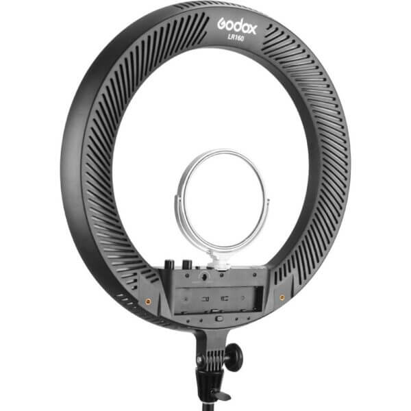 Godox LR160 LED Ring Light with Light Stand ไฟแต่งหน้าพร้อมขาตั้ง 18 inches Black w Mirror Smartphone Holder Adapter 3