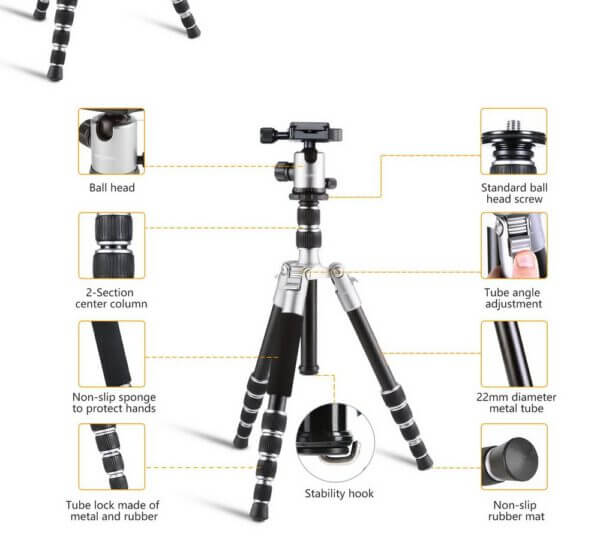 KF KF09014 TM2235 Lightweight Aluminium DSLR Camera Tripod 50 w Ball Head Silver 5