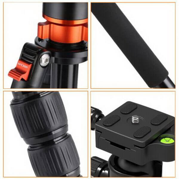 KF KF09030 TM2534T Aluminium TripodMonopod Kit 72 w Ball Head Orange 8