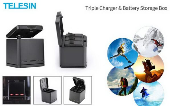 Telesin Tripple Slot Battery Charger for Gopro Hero5 Hero6 Hero7 3