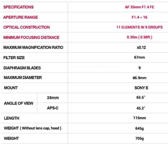 Official : เปิดตัว Samyang AF 35 F1.4 FE สำหรับกล้อง Sony Mirrorless Fullframe