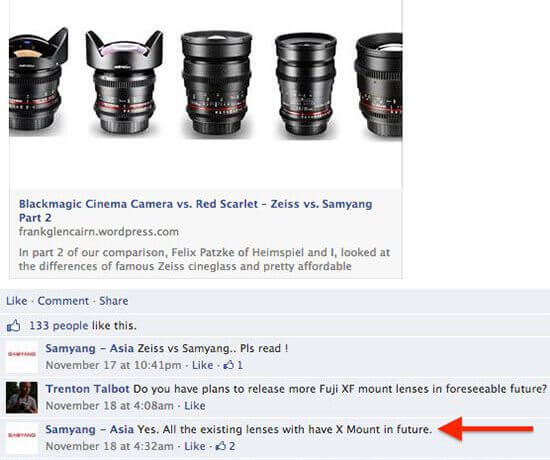 All Samyang lenses will be available in X mount