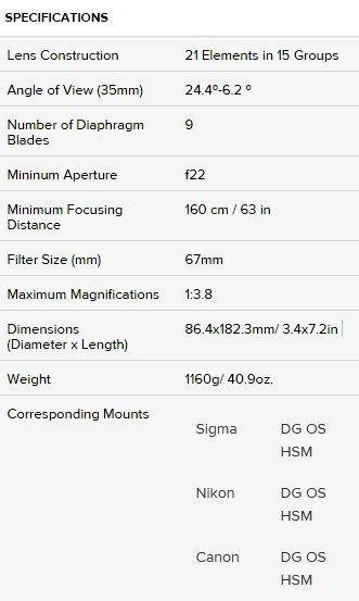 Hands on Review Sigma 100 400mm F5 6 3 DG OS HSM C spec