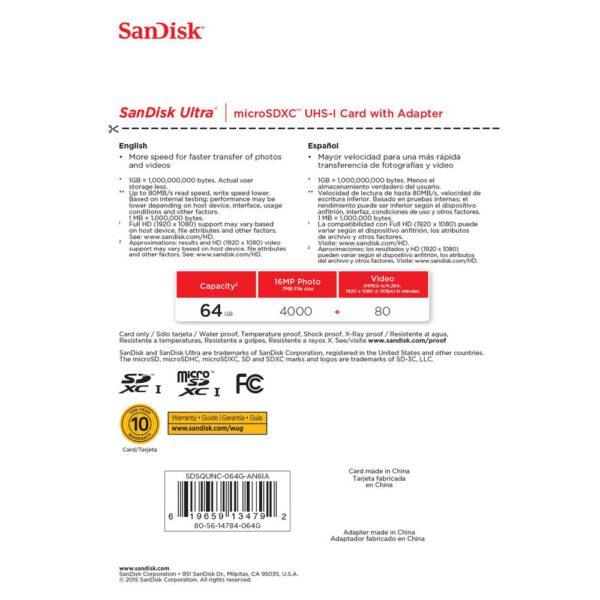 Sandisk SDSDUNB 064G GN3IN Ultra SDXC 64GB Class 10 48mbs ประกันศูนย์5