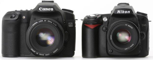 canon 50d nikon d90 front