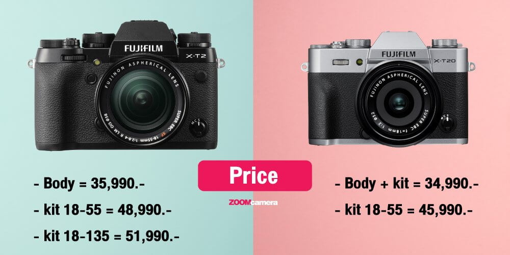 เปรียบเทียบ : Fujifilm X-T2 VS Fujifilm X-T20