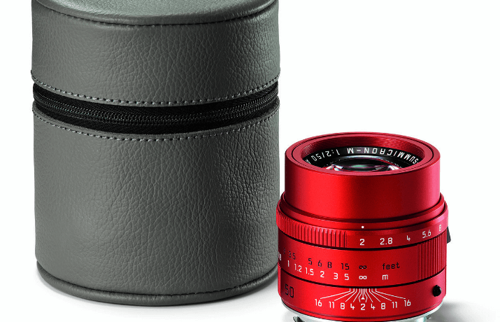 Leica APO Summicron M red grey leather hood zoomcamera