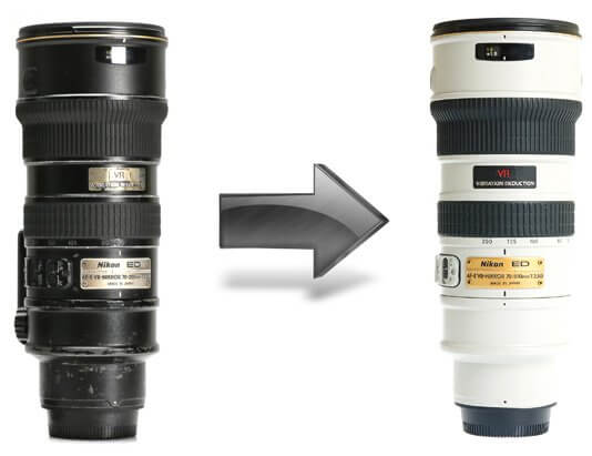 Old Nikkor lenses restored and painted white