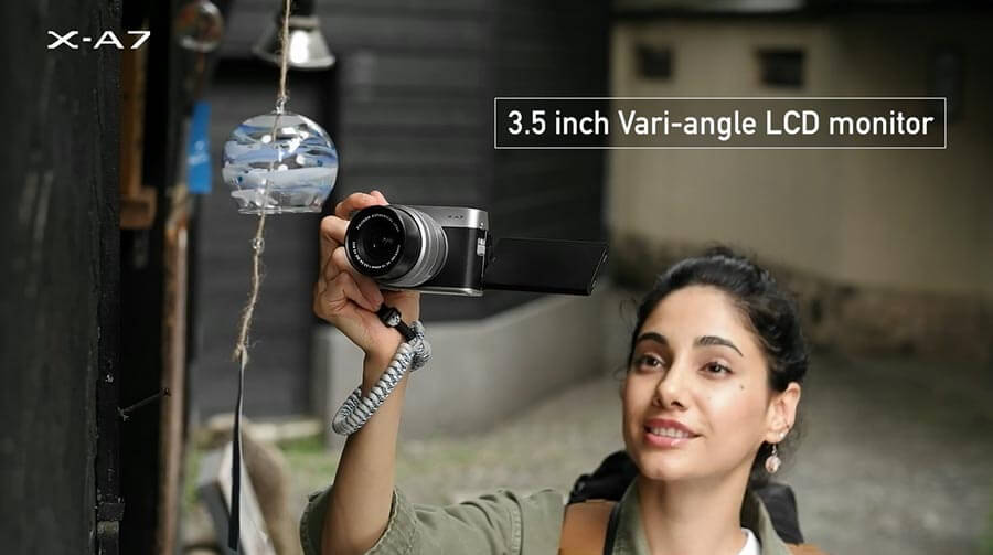 Fujifilm X-A7 จอทัชสกรีน เซลฟี่ได้ แบบพับด้านข้าง (Vari-angle LCD)