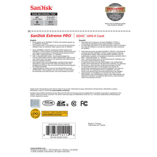 SanDisk 32GB Extreme PRO UHS-II SDHC Memory Card