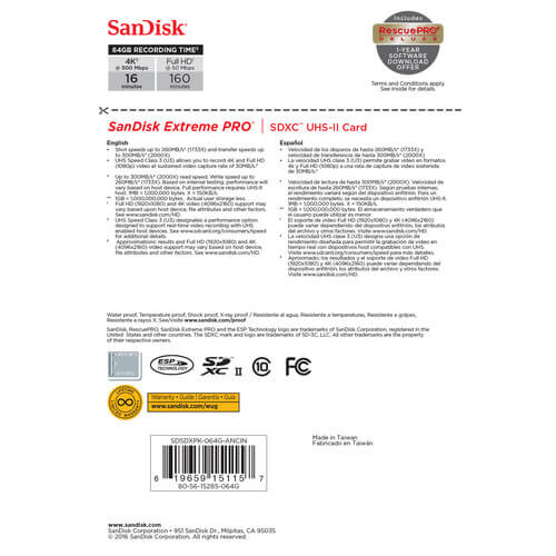 SanDisk (SDSDXPK-064G) 64GB Extreme PRO UHS-II SDXC Memory Card