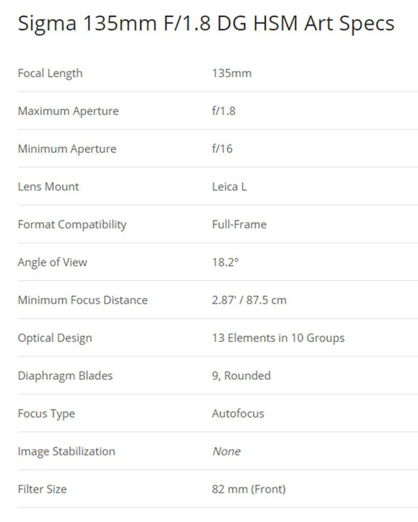 Sigma Lens 135mm F1.8 for L mount Specification