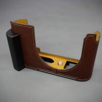 LIMs Design (LC-Q2DBR) Italian Leather half Case with AL-6061 for Leica Q2-Brown
