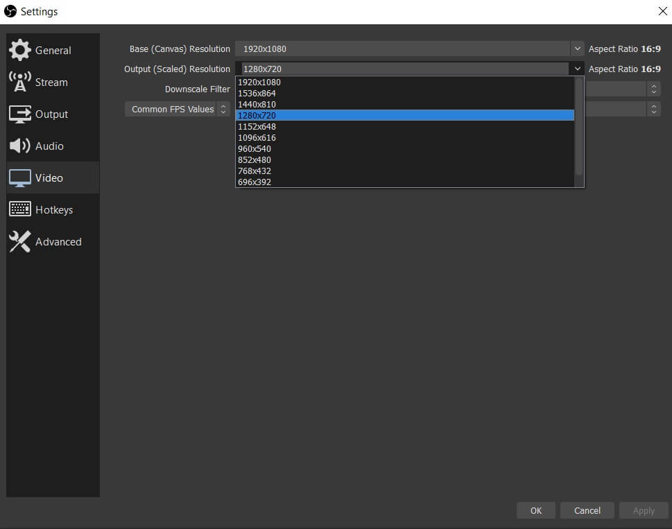 obs video setting