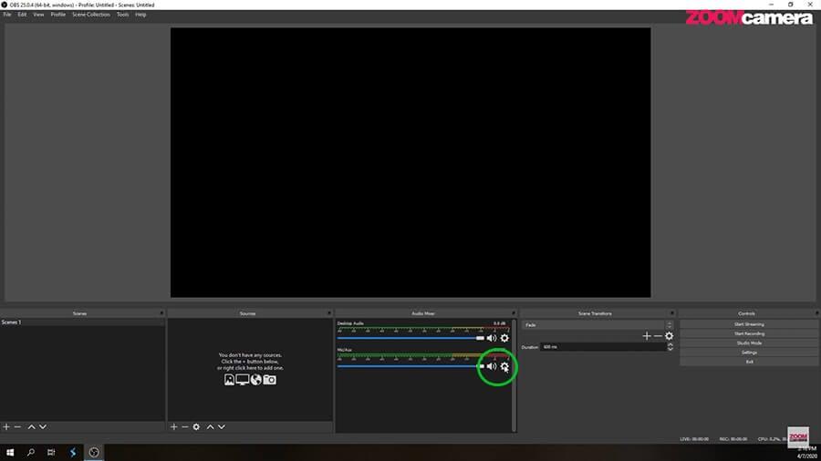 Audio Mixer เป็นแนวตั้งในโปรแกรม OBS 1