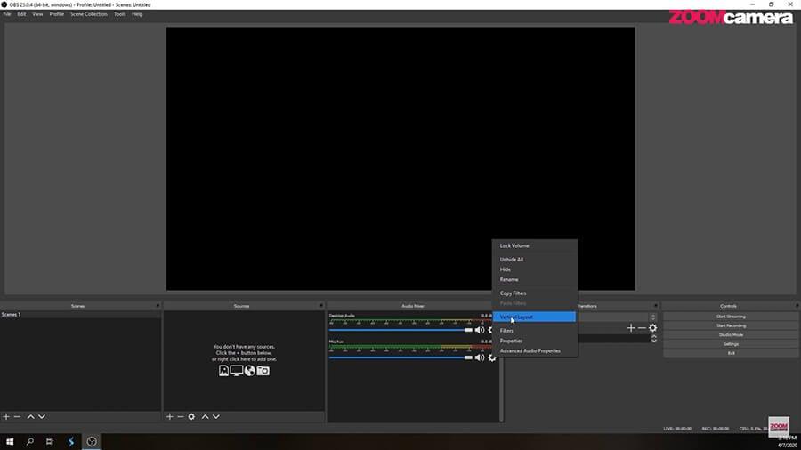 Audio Mixer เป็นแนวตั้งในโปรแกรม OBS 2