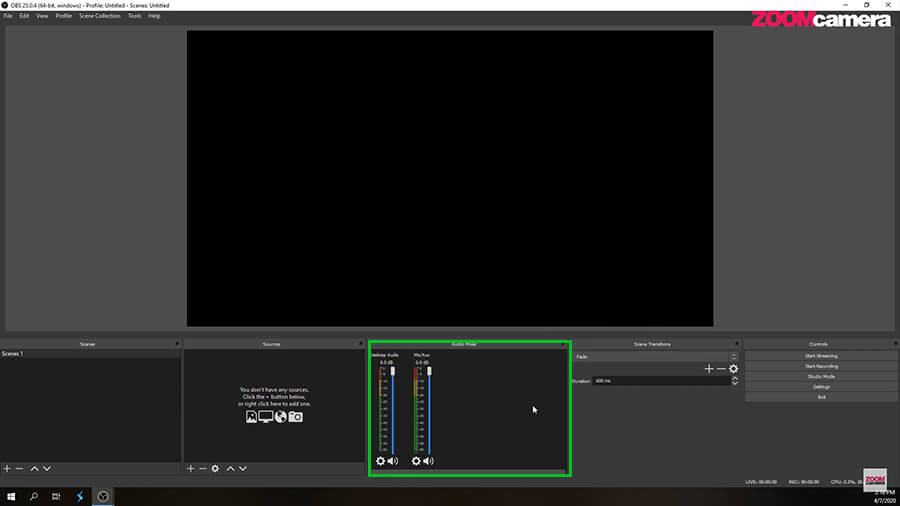 Audio Mixer เป็นแนวตั้งในโปรแกรม OBS 3