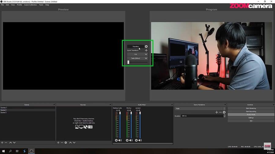 Studio Mode ในโปรแกรม OBS การ Transition