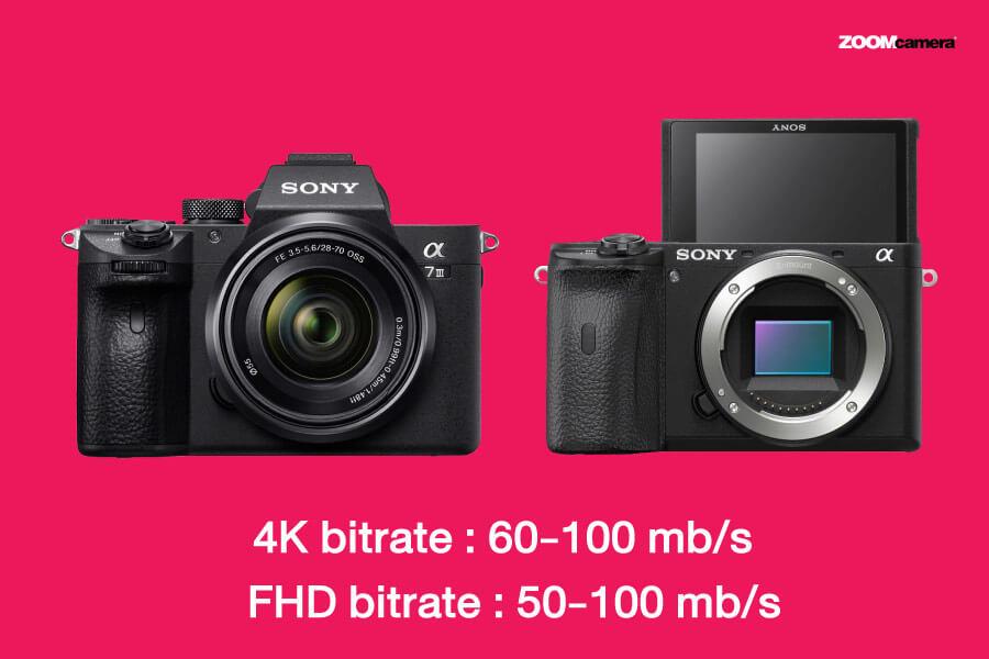 fujifilm xt4 vs xt3 vs a6600 a7iii video bitrate sony