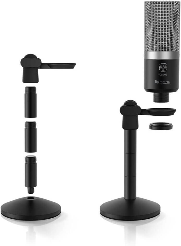 FIFINE K670 USB Unidirectional Condenser Microphone stand height adjust