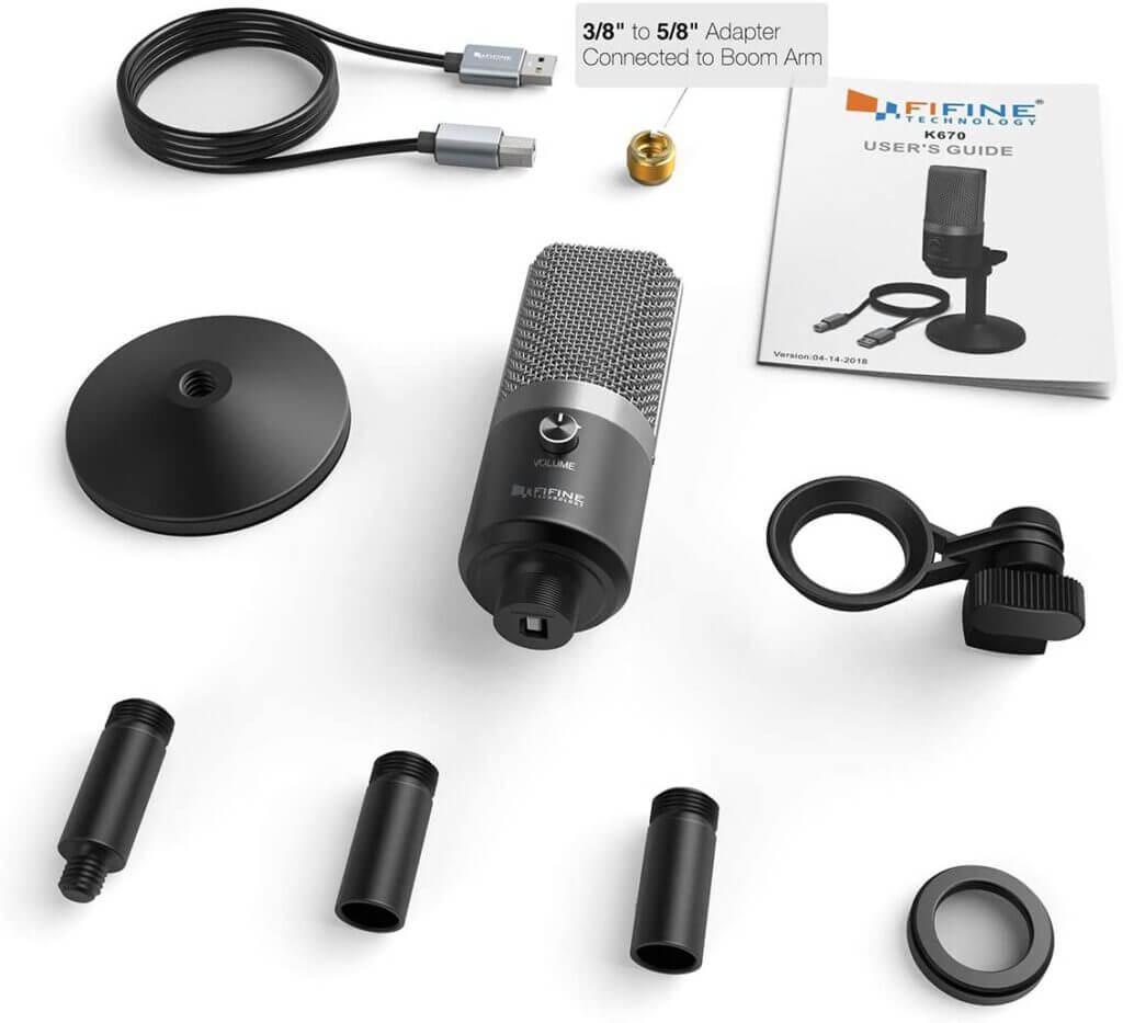 FIFINE K670 USB Unidirectional Condenser Microphone content อุปกรณ์