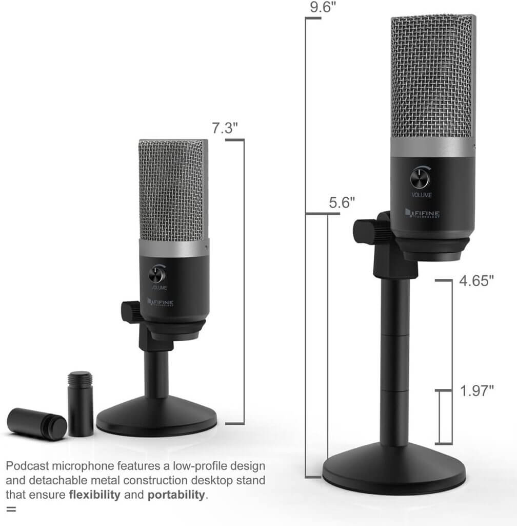 FIFINE K670 USB Unidirectional Condenser Microphone stand adjust