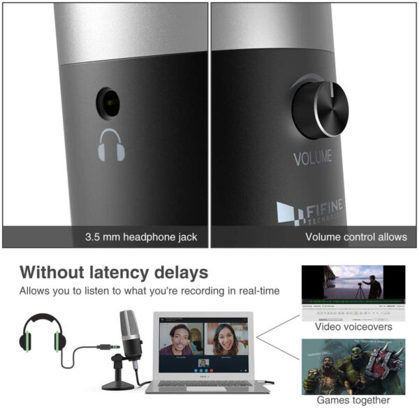 FIFINE K670 USB Unidirectional Condenser Microphone headphone volume