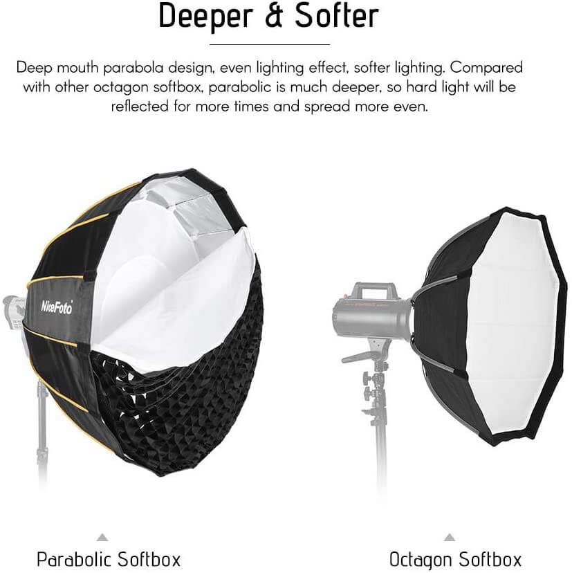 Nicefoto LED professional Umbrella Softbox Photography Studio SoftBox with Grid 5