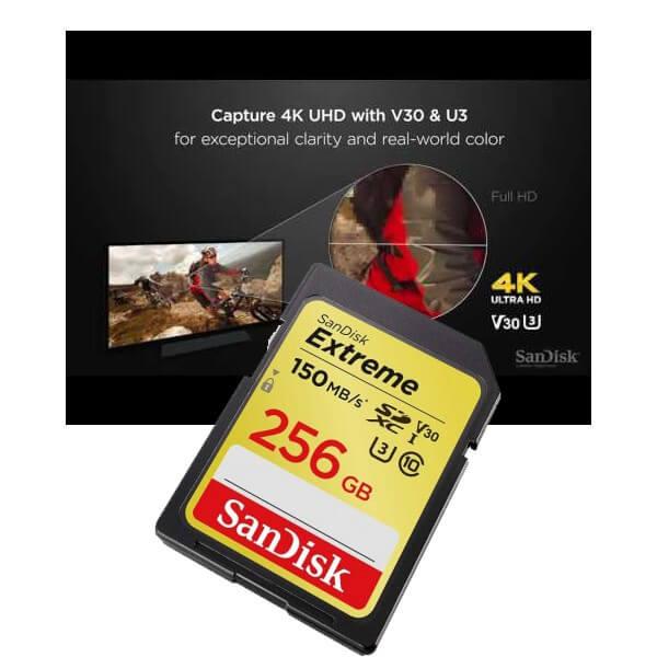 Sandisk SDSDXV5 256G U3 V30 Extreme SDXC 256GB R150W70 3