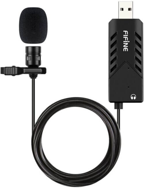 FIFINE USB LAPEL MIC WITH MONITORING HEADPHONE JACK FOR SKYPE CALLS CONFERENCING DICTATING K053 1