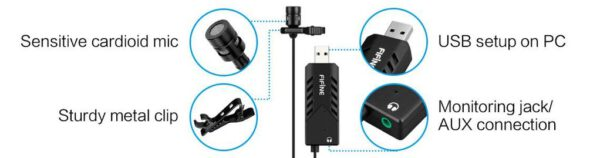 FIFINE USB LAPEL MIC WITH MONITORING HEADPHONE JACK FOR SKYPE CALLS CONFERENCING DICTATING K053 10