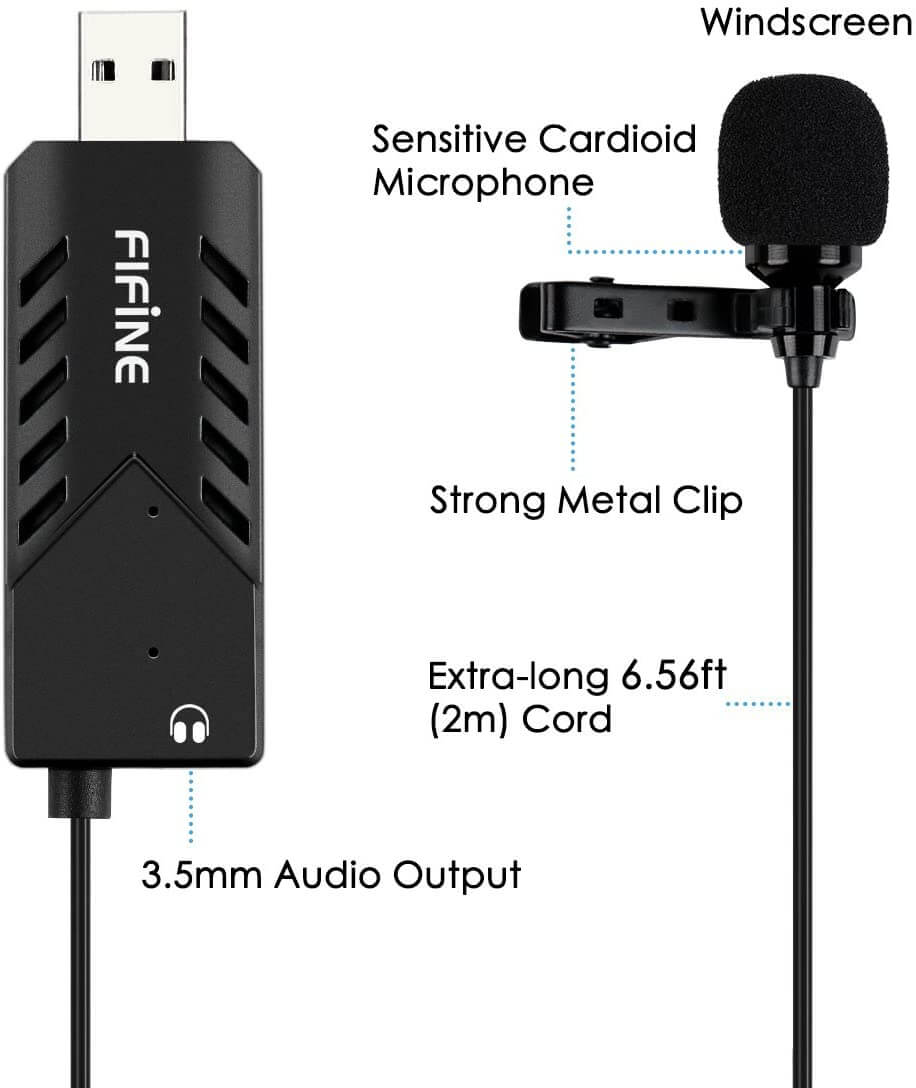 FIFINE USB LAPEL MIC WITH MONITORING HEADPHONE JACK FOR SKYPE CALLS CONFERENCING DICTATING K053 2