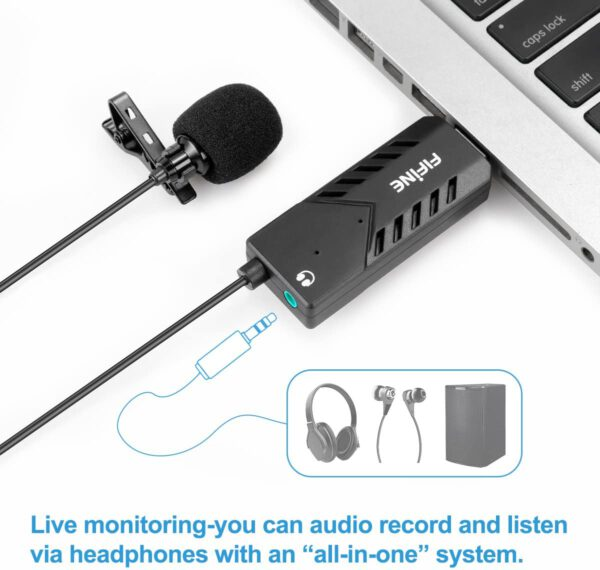 FIFINE USB LAPEL MIC WITH MONITORING HEADPHONE JACK FOR SKYPE CALLS CONFERENCING DICTATING K053 3