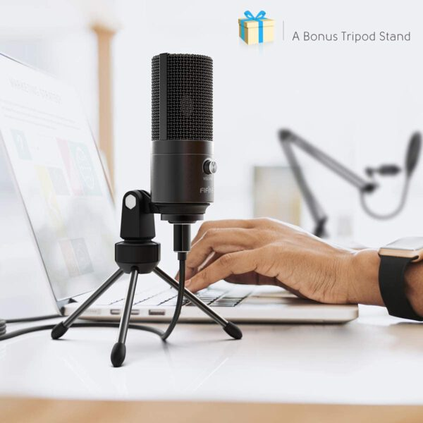 FIFINE USB MICROPHONE WITH VOLUME DIAL HOME STUDIO BUNDLE FOR STREAMING RECORDING T669 3