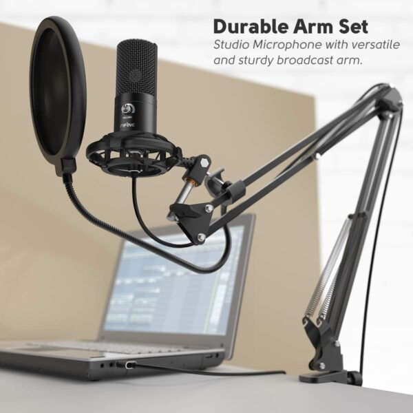 FIFINE USB MICROPHONE WITH VOLUME DIAL HOME STUDIO BUNDLE FOR STREAMING RECORDING T669 5