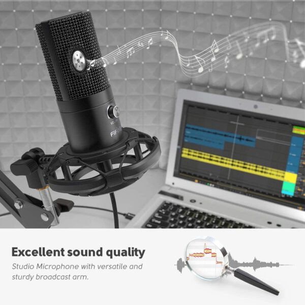 FIFINE USB MICROPHONE WITH VOLUME DIAL HOME STUDIO BUNDLE FOR STREAMING RECORDING T669 6