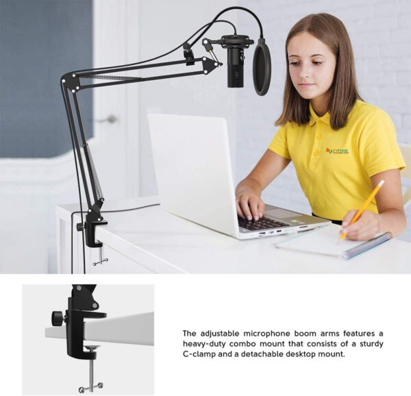 FIFINE USB MICROPHONE WITH VOLUME DIAL HOME STUDIO BUNDLE FOR STREAMING RECORDING T669 8