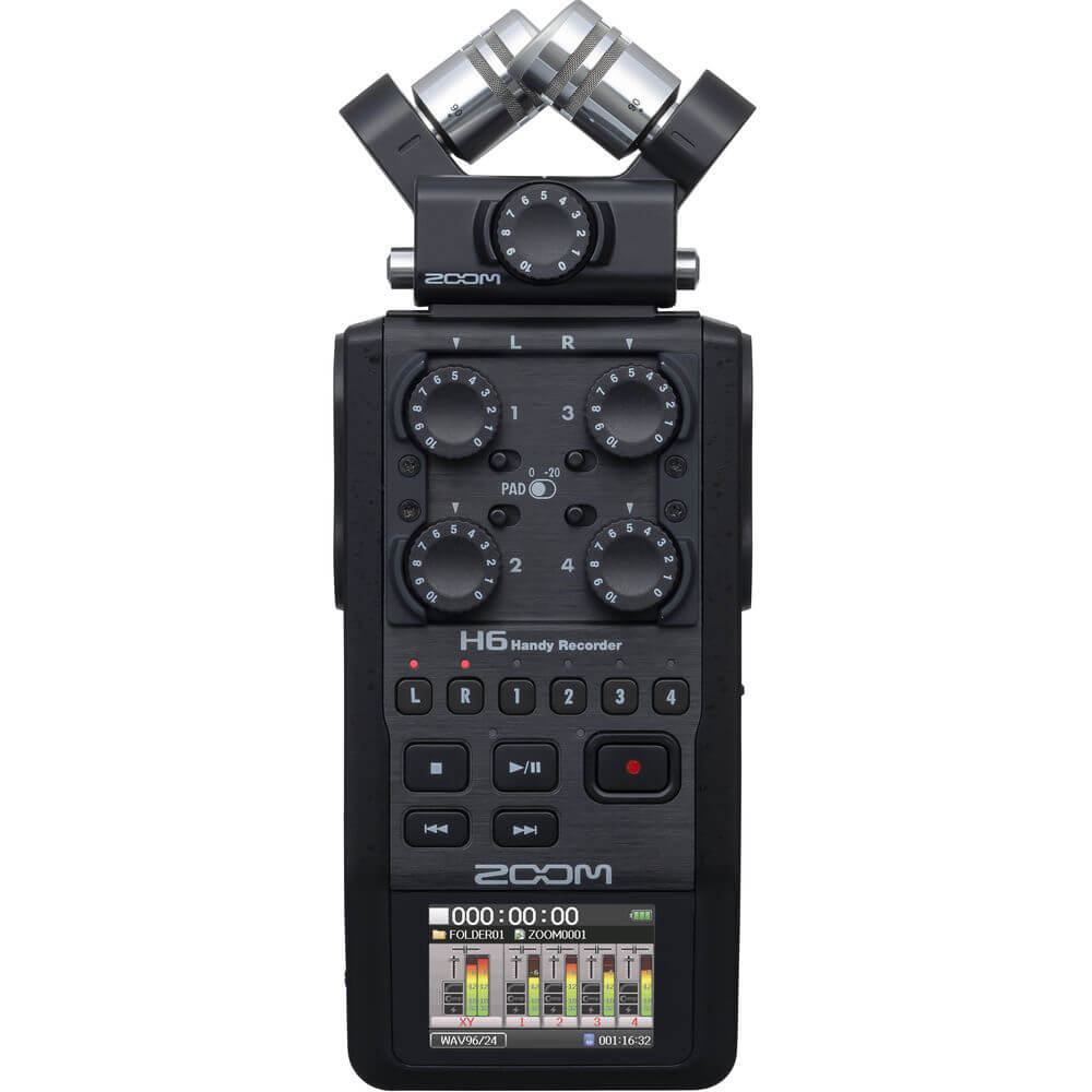 Zoom H6 All Black 6 Input 6 Track Portable Handy Recorder with Single Mic Capsule Black 1
