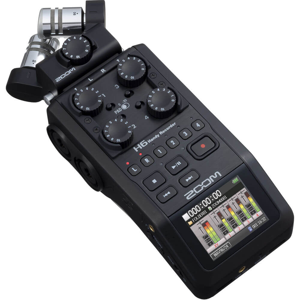 Zoom H6 All Black 6 Input 6 Track Portable Handy Recorder with Single Mic Capsule Black 2