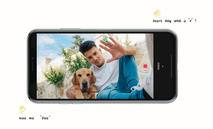 zhiyun-smooth-X-Start-record-with-Hand-Gesture