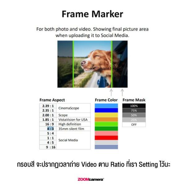 รีวิว Panasonic Lumix G100 ฟีเจอร์ Frame Marker