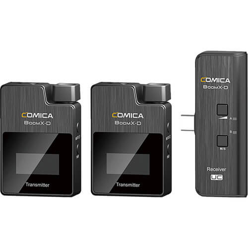 Comica Audio BoomX D UC2 Ultracompact 2 Person Digital Wireless Microphone System for Android Smartphones 2.4 GHz 1
